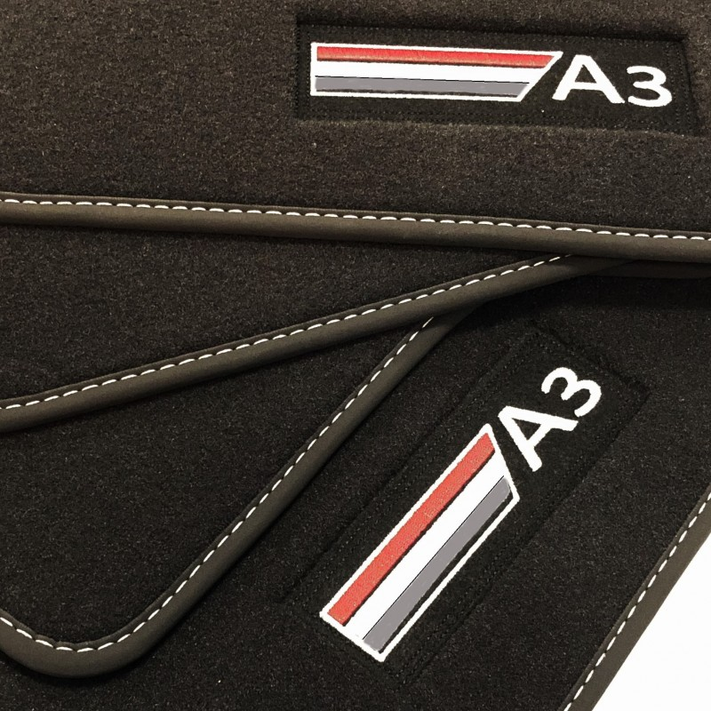 Nuovo Tappetini Audi A3 S3 RS3 Sportback 8V LINEA Cucitura Rosso Velluto Tessile
